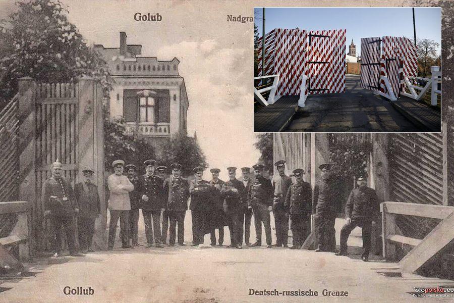 Brama graniczna na moście między Golubiem i Dobrzyniem, początek XX wieku (fot. z domeny publicznej) i współczesna replika bramy (fot. Andrzej Goiński/UMWKP)