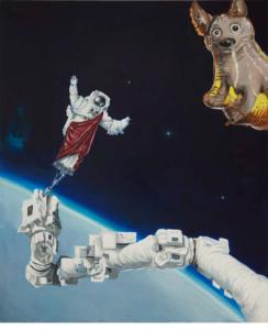 Julia Curyło, Łajka w kosmosie, 2016, olej na płótnie,180x150 cm
