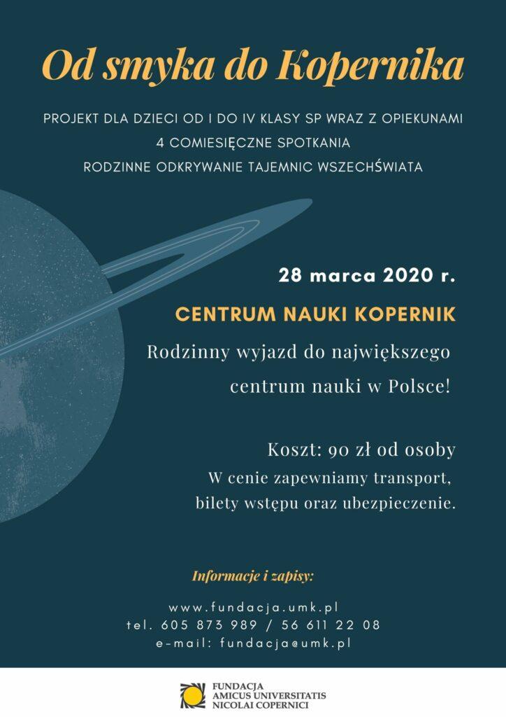 Od smyka do Kopernika - wyjazd rodzinny do Warszawy. Plakat