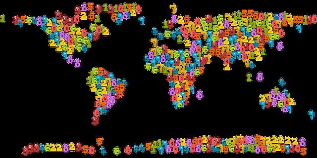 Mapa świata ułożona z liczb, Pixabay