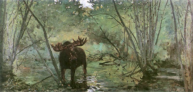 Łoś, obraz J. Fałata 1899r.