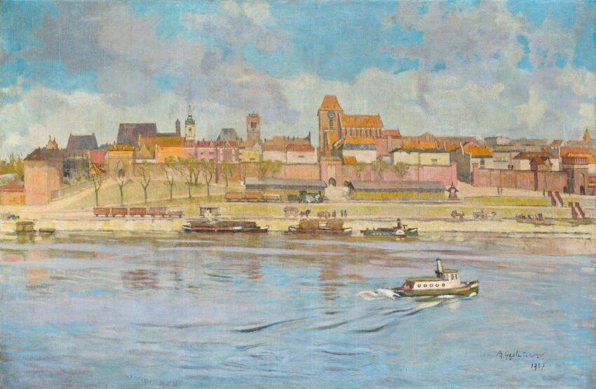 Obraz: B. Gęstwicki, Panorama Torunia, 1937 ze zbiorów Muzeum Okręgowe w Toruniu