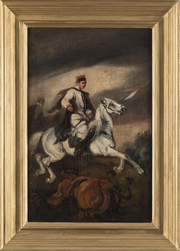 Krakus na koniu, Piotr Michałowski (1800-1855); Nieznane miejsce wykonania; po 1835 r.; 49x31 cm; olej; płótno, (podłoże), tektura