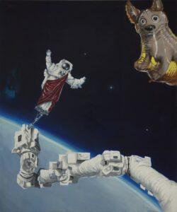 Curylo Julia - Laika w kosmosie, 2016, olej plotno, 180x150cm [fot Adam Gut]