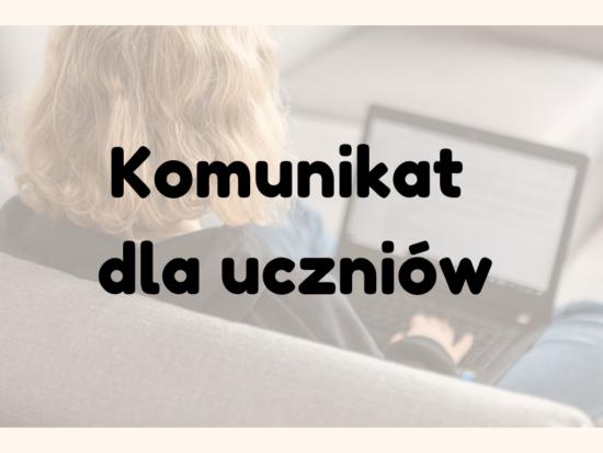 KP e-Szkoła: Komunikat dla uczniów