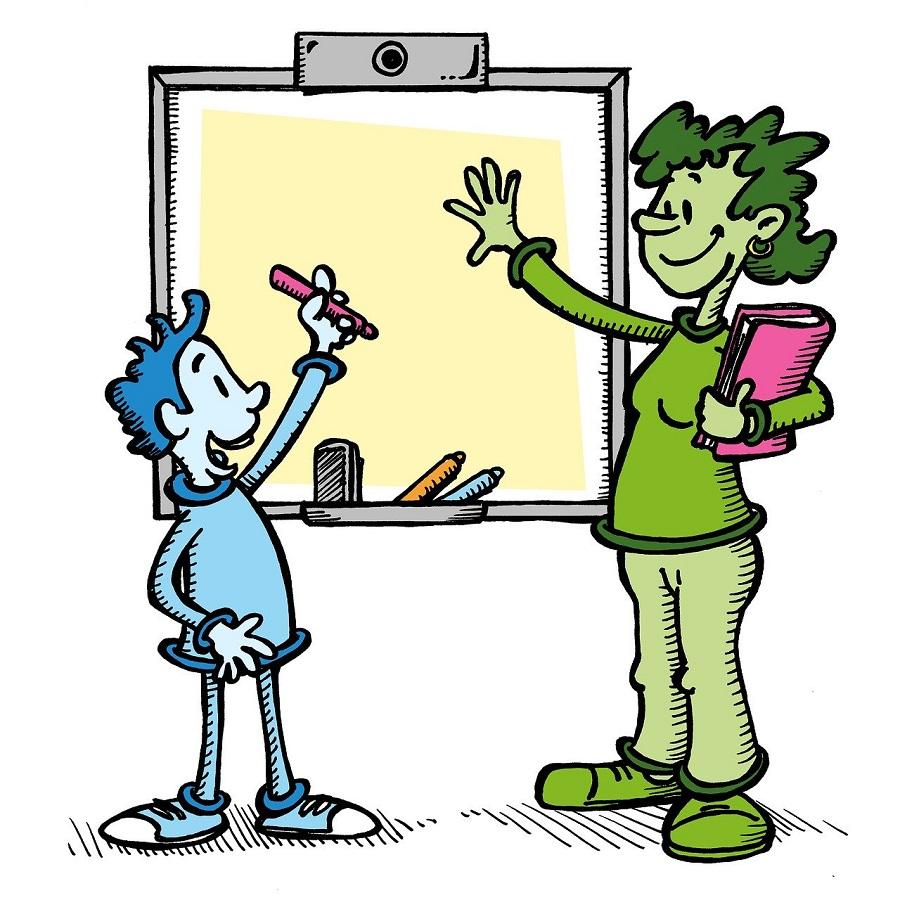 Nauczycielka i uczeń przy tablicy, Pixabay