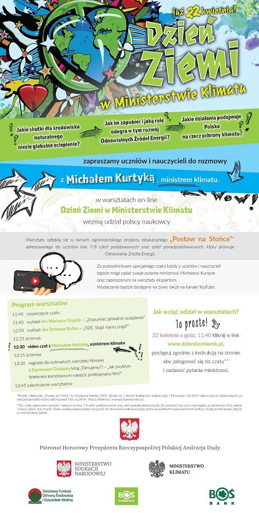 Plakat Dzień Ziemi w Ministerstwie Klimatu