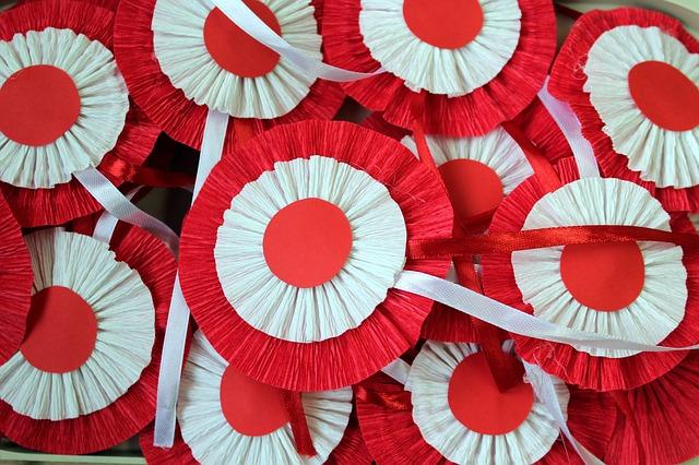 Kotylion biało-czerwony