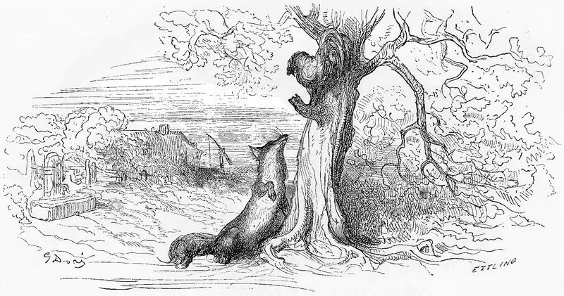 grafika z książki PL Bajki, Jean de La Fontaine, nakładem i drukiem Jana Noskowskiego, Warszawa 1876
