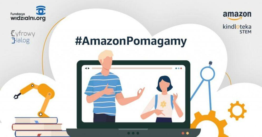 Infografika, napis Amazon pomagamy, na tle białego serca z laptopem i ludźmi na ekranie