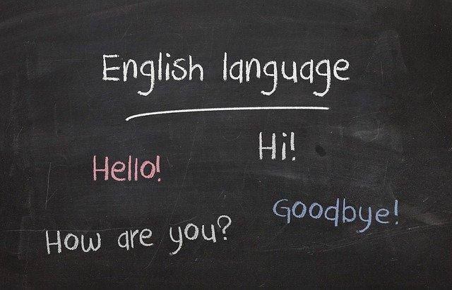Tablica z angielskimi słówkami