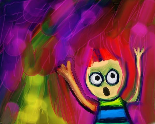 Rysunek dziecięcy przedstawiający przerażone dziecko