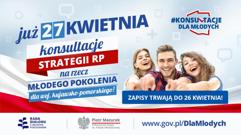 """Grafika - Konsultacje """"Strategii RP na rzecz Młodego Pokolenia"""" w województwie kujawsko-pomorskim!"""