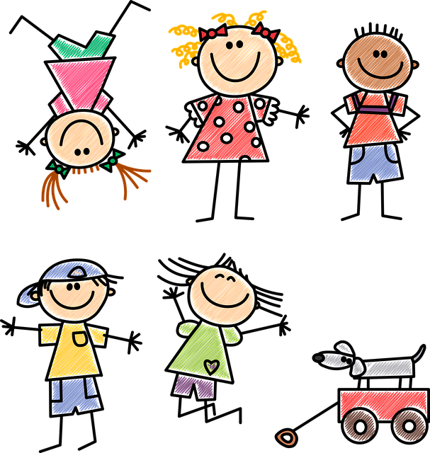 rysunek stylizowany na dziecięcy, przedstawiający bawiące się dzieci