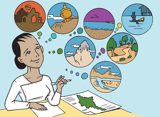 grafika wektorowa przedstawiająca dziewczynę marzącą o podróżach
