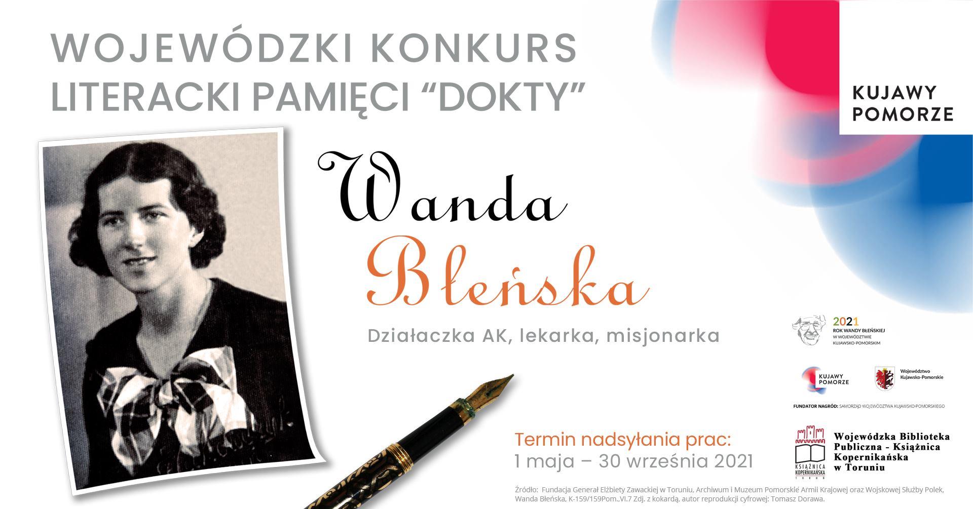 Wojewódzki Konkurs Literacki Pamięci Dokty: Wanda Błeńska, działaczka AK, lekarka, misjonarka