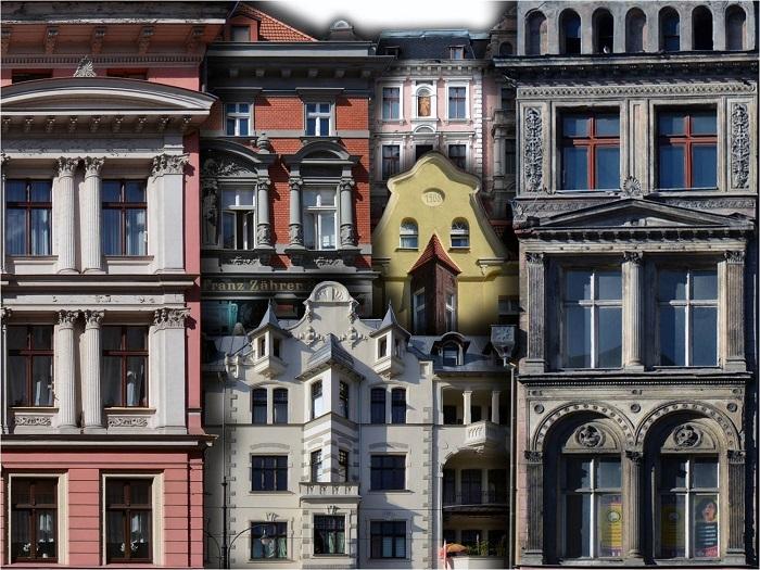 Toruńskie kamienice - kolaż z fragmentów fotografii