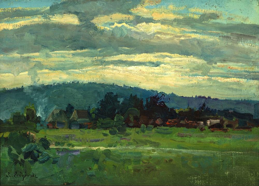Podgórski Stanisław, Wieś, b.r., olej, płótno naklejone na tekturę, 24,5 x 34 cm, fot. W. Woźniak