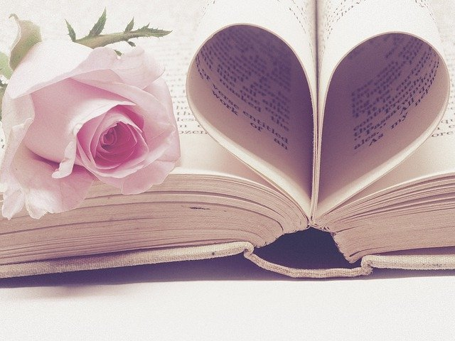 książka i róża, serce z kartek książki
